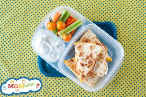 apple quesadillas with a side of veggies!