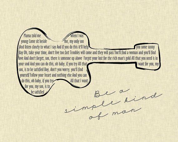 Lynyrd Skynyrd Simple Man Lyrics Sampling/ Guitar/ Ivory Linen background/ Retro Guitar art - 8x10, 11x14, 12x16, & 16x20