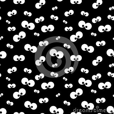 Seamless halloween funny pattern with eyes over black background