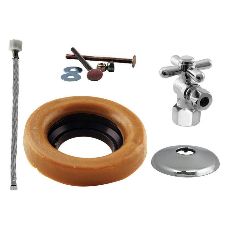 West 1/2-inch IPS Cross Handle Angle Stop Toilet Installation Kit with Steel Supply Line