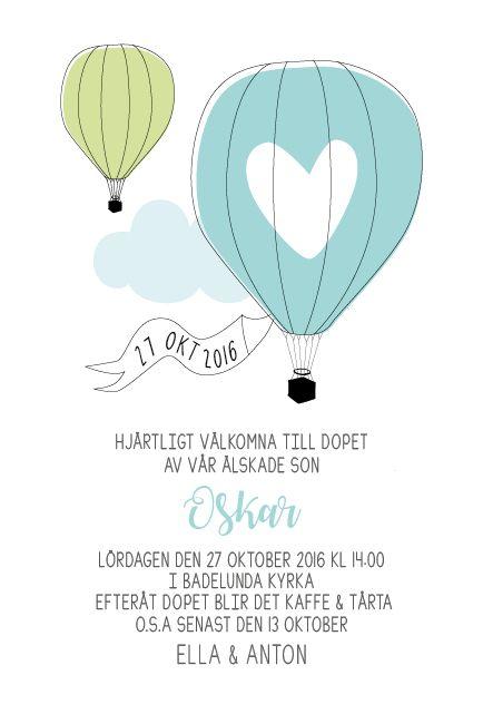 Luftballong inbjudan - ett nytt kort till dop eller namngivning från www.annagorandesign.se