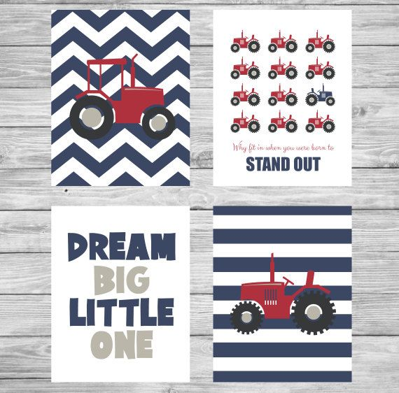 Nursery Prints Wall Art Tractor Blue Red Grey Set by CeceandCoco
