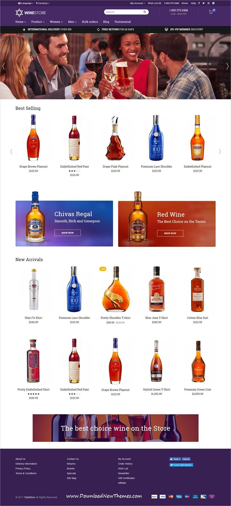 TotalStore is clean and modern design responsive all-in-one #opencart theme for #wine #liquor shop eCommerce #website with 18+ niche homepage layouts to live preview & download click on image or Visit 👆