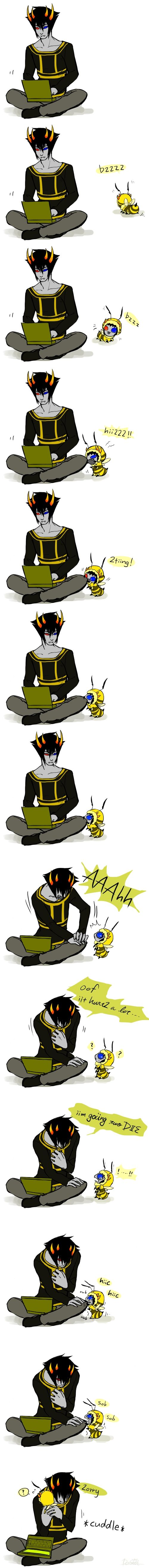Tags: Anime, Computer, Laptop, Adorably Cute, Indian Style Sitting, Homestuck, Sollux Captor