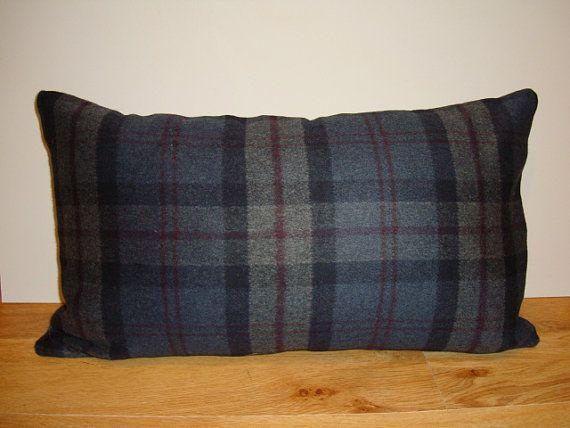 Grey Wool Check Throw Cushion 12''x20'' Mid by RetroGlowDesign, £21.99