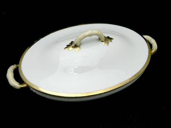 Antique Oval Serving Bowl with Lid Adolf Persch Austria