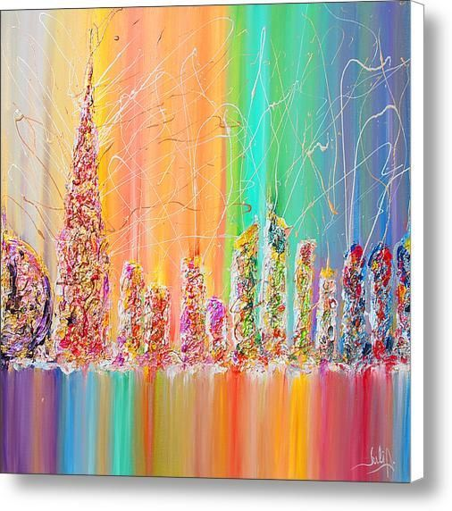 Cityscape painting Urban Abstract Painting Rainbow Art by JuliaApostolova   Etsy