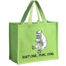 Green Sheep Bag Knit one, Purl One Re-useable shopping bag made from jute which…