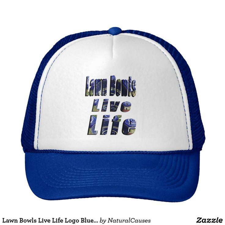 Lawn Bowls Live Life Logo Blue Unisex Truckers Cap