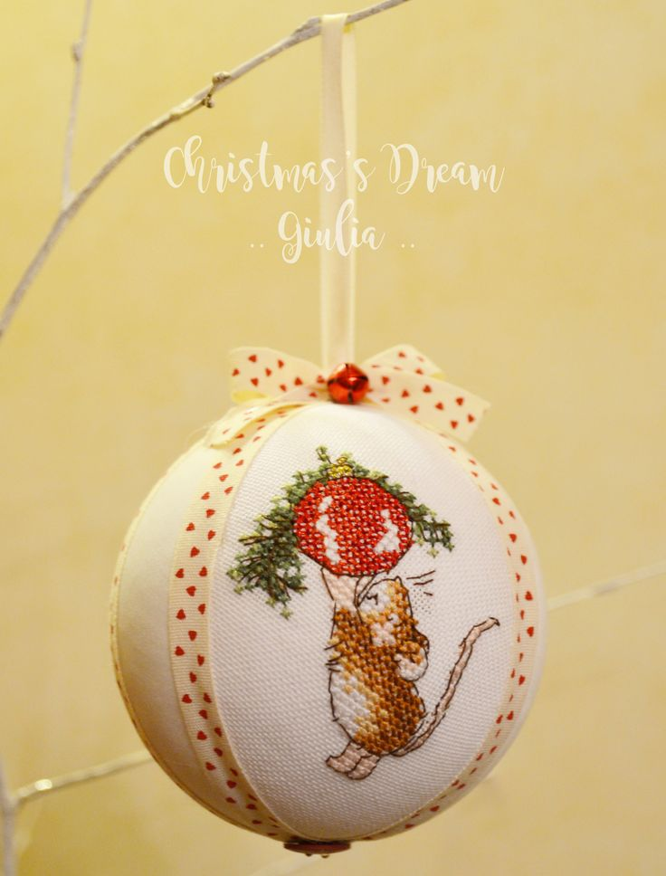 Christmas ball cross stitch :) mouse! handmade