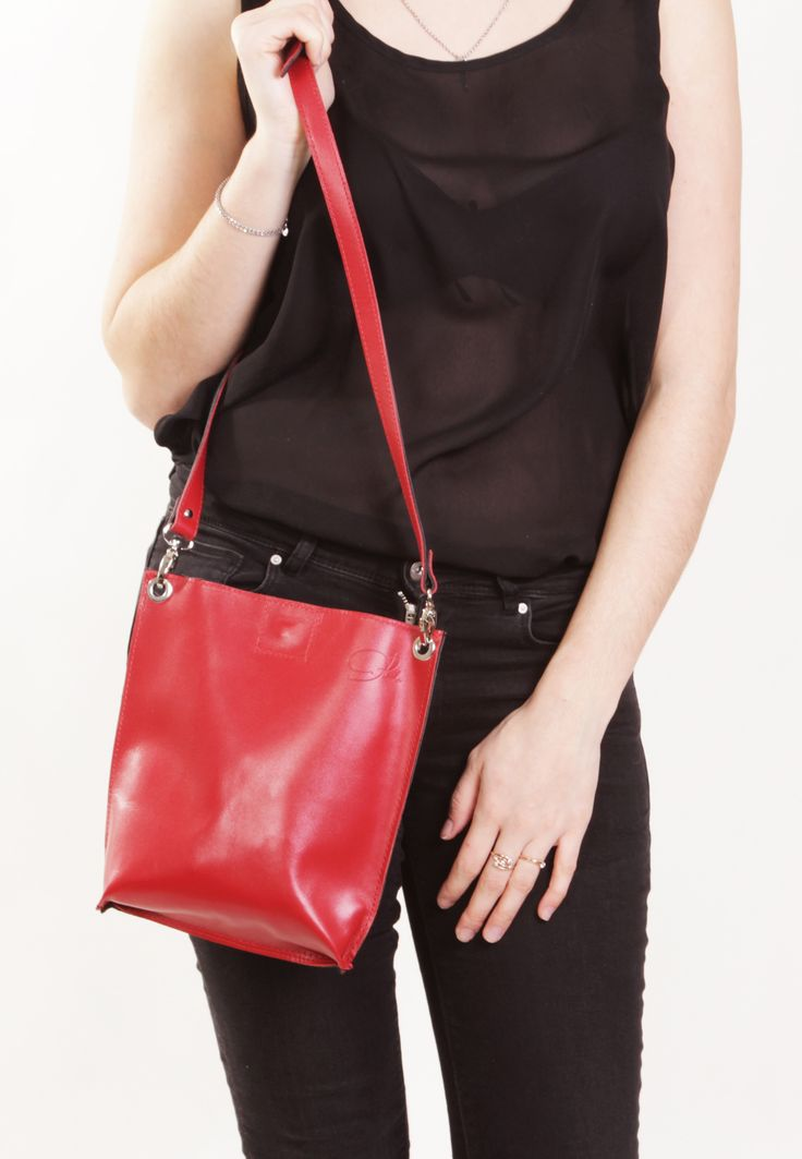 "Handmade Leather Bag ""Monica Double Stendhal""/ Black and Red Handbag / Black and Red Crossbody Bag / Bag for iPad mini by A-Rada"