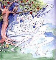 De Witte Wieven, illustratie by Pol Wijnberg uit het boek 'Godinnen van eigen bodem' by Ineke Bergman