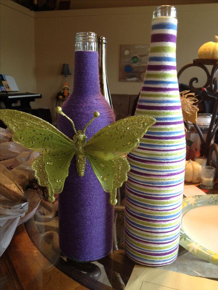 Yarn wrapped wine bottles 232 best Stuff