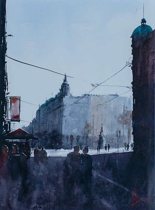 Alan Somers- Towards O'Connell St #dublin #art #painting #watercolour #citystreets #fineart