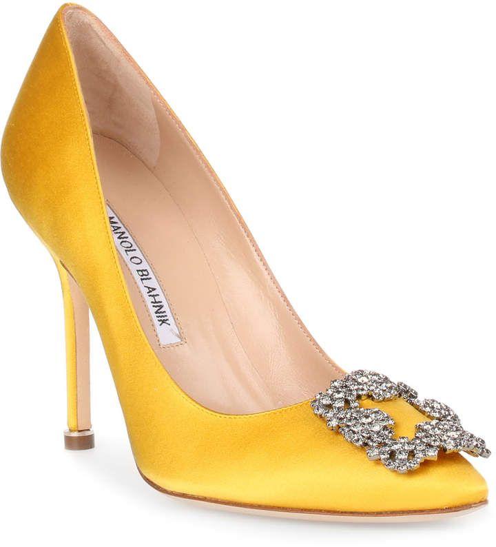 Manolo Blahnik Hangisi 105 yellow satin