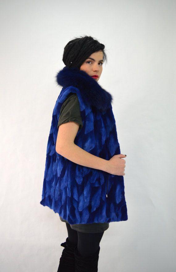 Real sheared fur vest blue fox fur  sheared fox coat with by BeFur