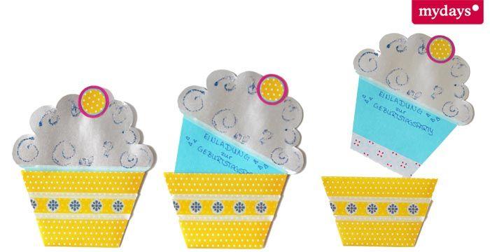 Lustige Muffin-Einladungskarten selber #basteln. Perfekt für die nächste Geburtstagseinladung #DIY #Geburtstagskarten #Einladung