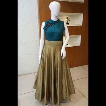 Blue and chiku tapeta silk multyandhand work semi stitched party wear gown