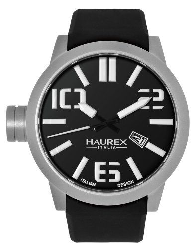 Haurex Italy Men's 1A377UNTurbina Black Silicone Black Dial Date Watch Haurex. $270.00. Second-hand feature. Black silicone strap. Black dial with date window at 4 o'clock. Oversized stainless steel case. Water-resistant to 30 M (99 feet). Save 60%!