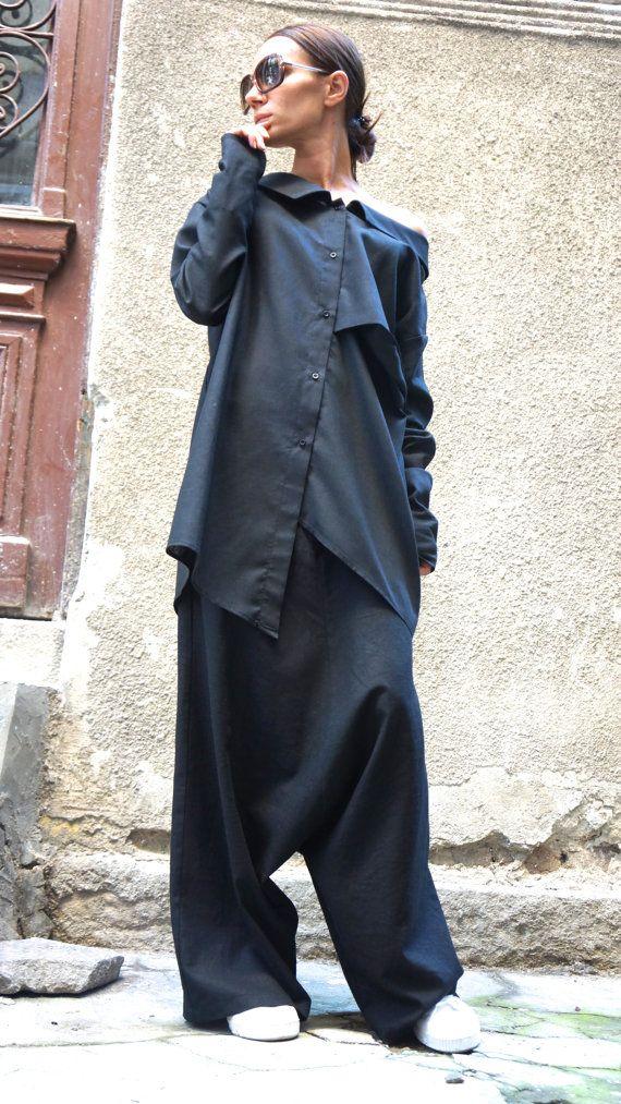 NEW Collection Loose Linen Black Harem Pants / Extravagant Drop Crotch Black Pants Extravagant Trousers by AAKASHA  A05131