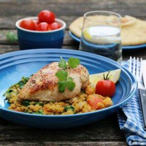 Kylling med indisk linsesalat