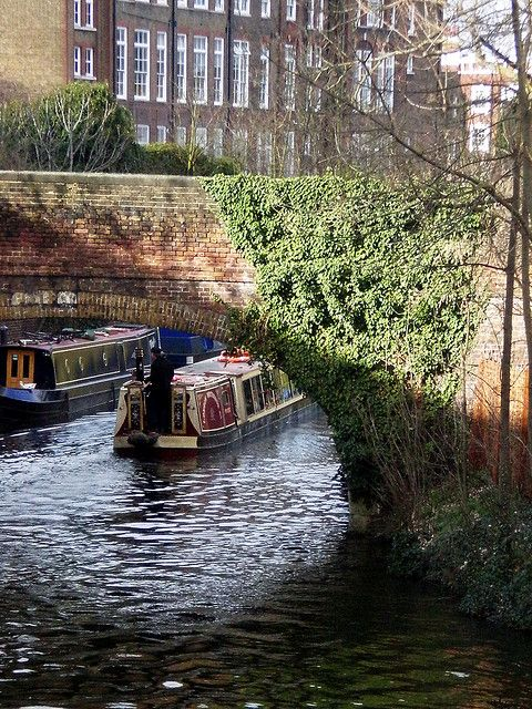 Regent's Canal    Regent's Canal, North London, with canal boat - rode one of these canal boats from the zoo all the way to Maida Vale