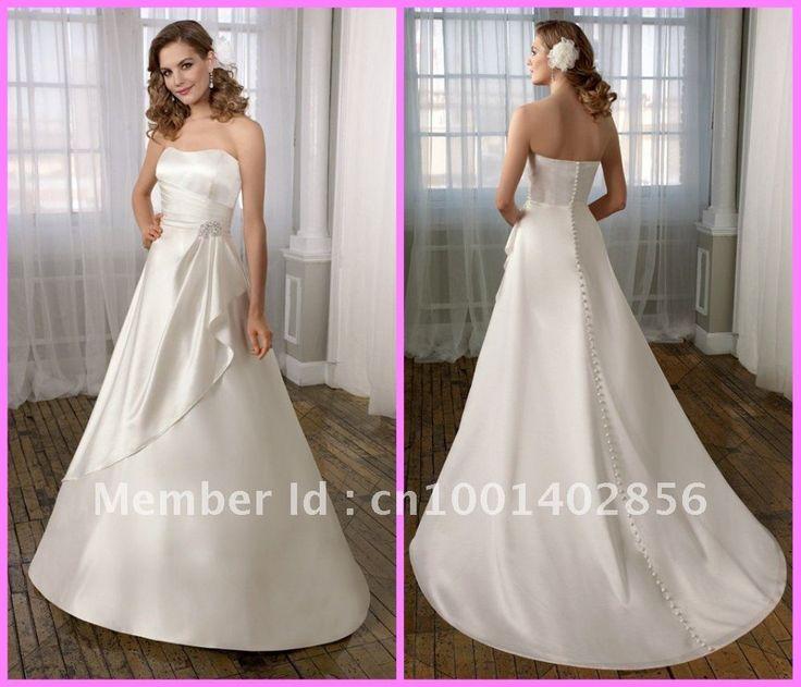 Свадебные платья Noiva романтический модные шик простой шелковистой длиной до пола суд рюшами атласная свадебные платья свадебные платья