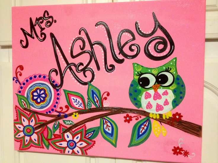 I Painted This Teacher Name Canvas To Match Classroom PaintingsCanvas ArtCanvas IdeasCanvas CraftsPainting