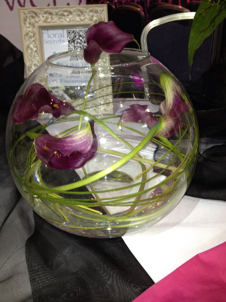 Calla Lilies twisted inside Goldfish Bowl