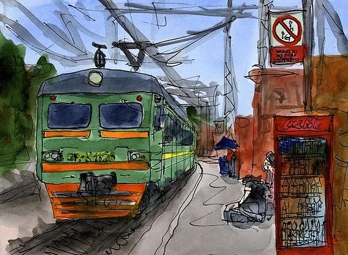 Russia, Oryol, Tula-Oryol train (Россия, Орел, поезд Тула-Орёл)