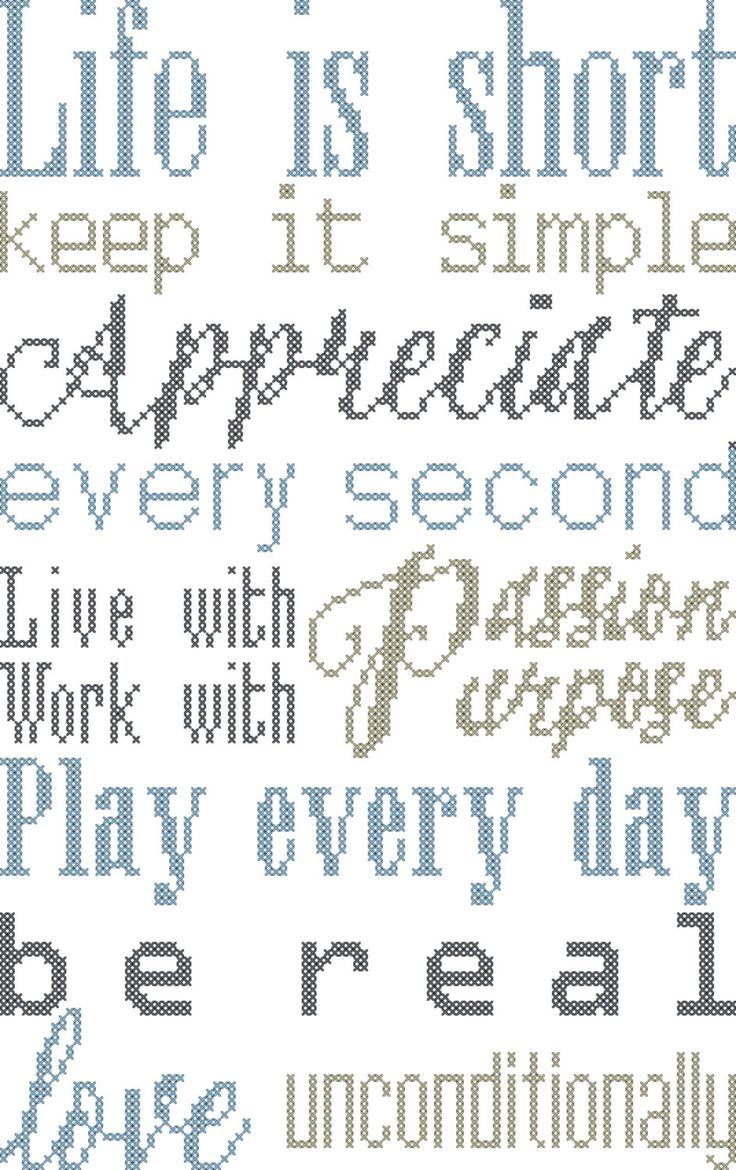 Modern Cross Stitch Pattern Typography Rules of Life Sign by…