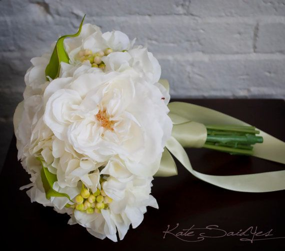 White Rose and Hydrangea Wedding Bouquet  Silk by KateSaidYes, $100.00