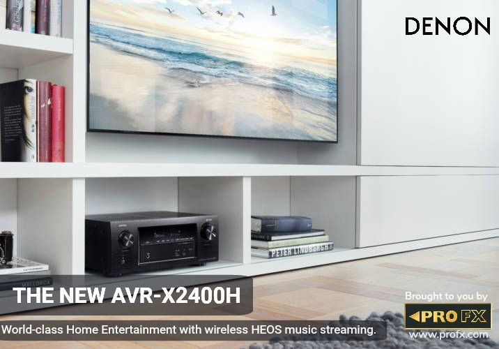 READY FOR THE FUTURE OF HOME CINEMA.  Enjoy an exceptional surround sound experience with the latest audio formats including Dolby Atmos and DTS:X. The AVR-X2400H's 7 amplifier design means, you can run two dedicated overhead speakers in a 5.1.2 configuration. #WorldClassEntertainment #Denon #AVReceiver #UncompromisingAVSurround #HighEndTechnology #ExceptionalPerformance #HomeCinema #HEOSTechnology #WirelessNetwork #OneStopSolution #PROFX #India