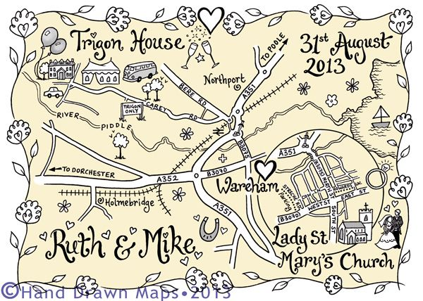 Hand Drawn Maps for your wedding day – the perfect personalised keepsake