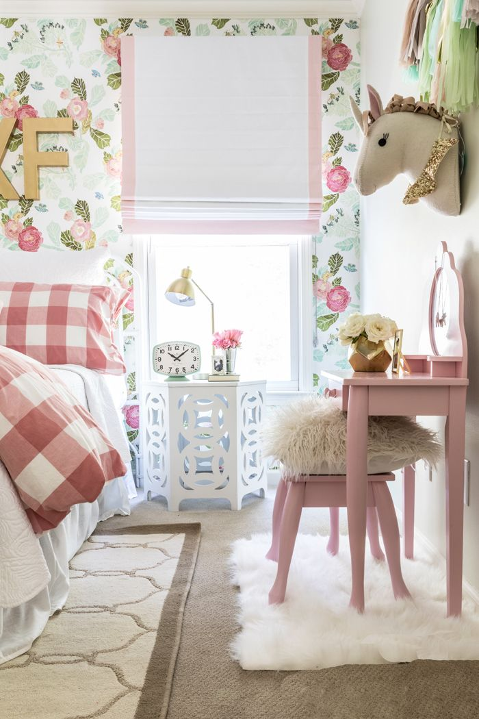 Bright and Girly Big Girl room with Gingham bedding, Anthropologie Floral Wallpaper and beautiful roman shades
