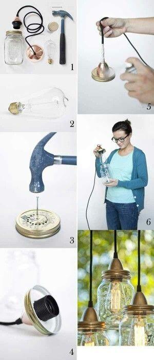 DIY Mason jar pendulum lights. #MasonJar #Light #HomeIdeas