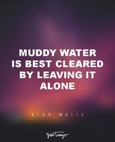 """15 Powerful Alan Watts Quotes Will Make You Rethink Your ENTIRE Life """"Muddy water is best cleared by leaving it alone."""""""