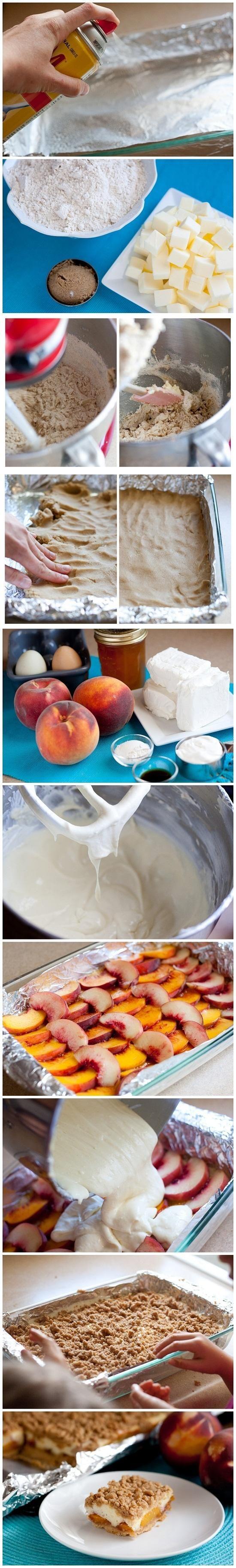 Peaches and Cream Crumble Bars