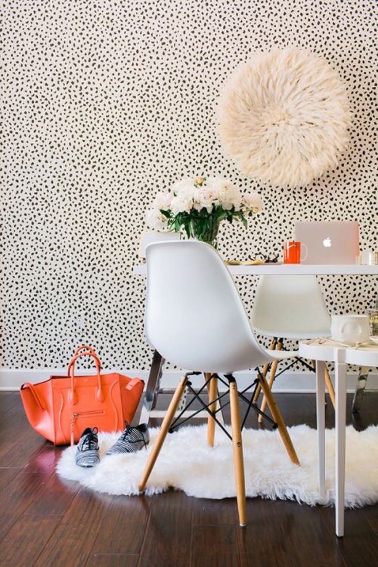 Love This Office Space · Office WallpaperWallpaper Accent WallsWhite ...