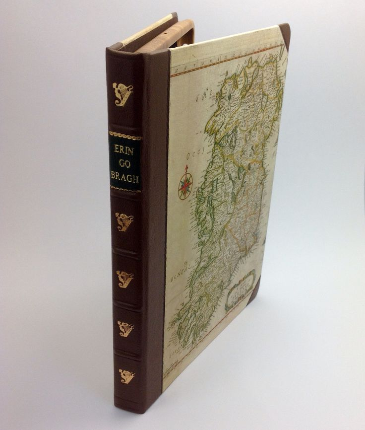 Handcrafted iPad case made of leather, bamboo, and copy of old Irish map. ERIN GO BRAGH.