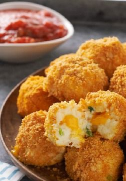 VELVEETA Potato Bites – Crunchy, popable potato balls with an ooey gooey, cheesy center. Seriously. As if game day isn't enough fun already.