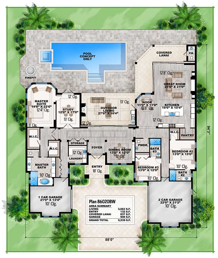 Plan 86020bw Florida House Plan With Open Layout Florida House Plans Home Design Plans Florida Home