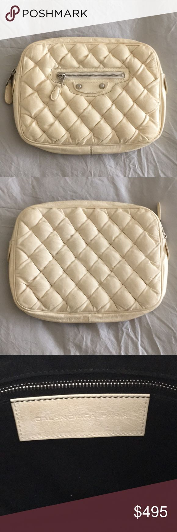 BALENCIAGA Chèvre Quilted Matelasse Clutch 100% Authentic Balenciaga Clutch in Ivory. Balenciaga Bags Clutches & Wristlets