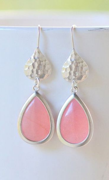 Simple Coral Pink Teardrop Earrings in Silver
