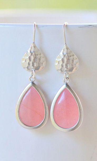 Simple Coral Pink Teardrop Earrings in Silver