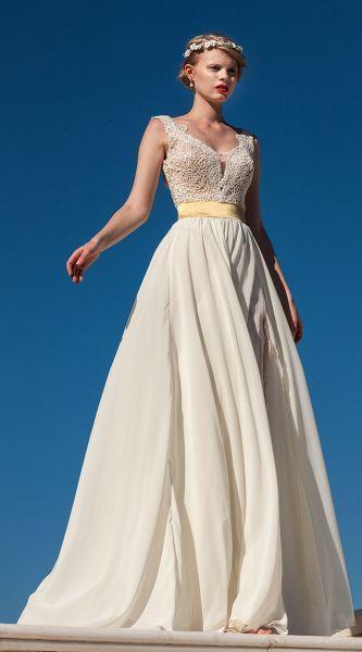 Wedding Dresses Evita Sposa Nyfiko Artemis Νυφικό σε αρχαιοελληνικό στυλ από φίνα δαντέλλα