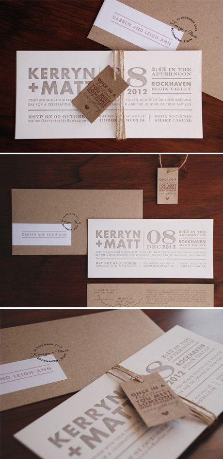 Kraft wedding invitations/envelopes, luggage tag all bundled up with rough twine and a hand printed stamp.