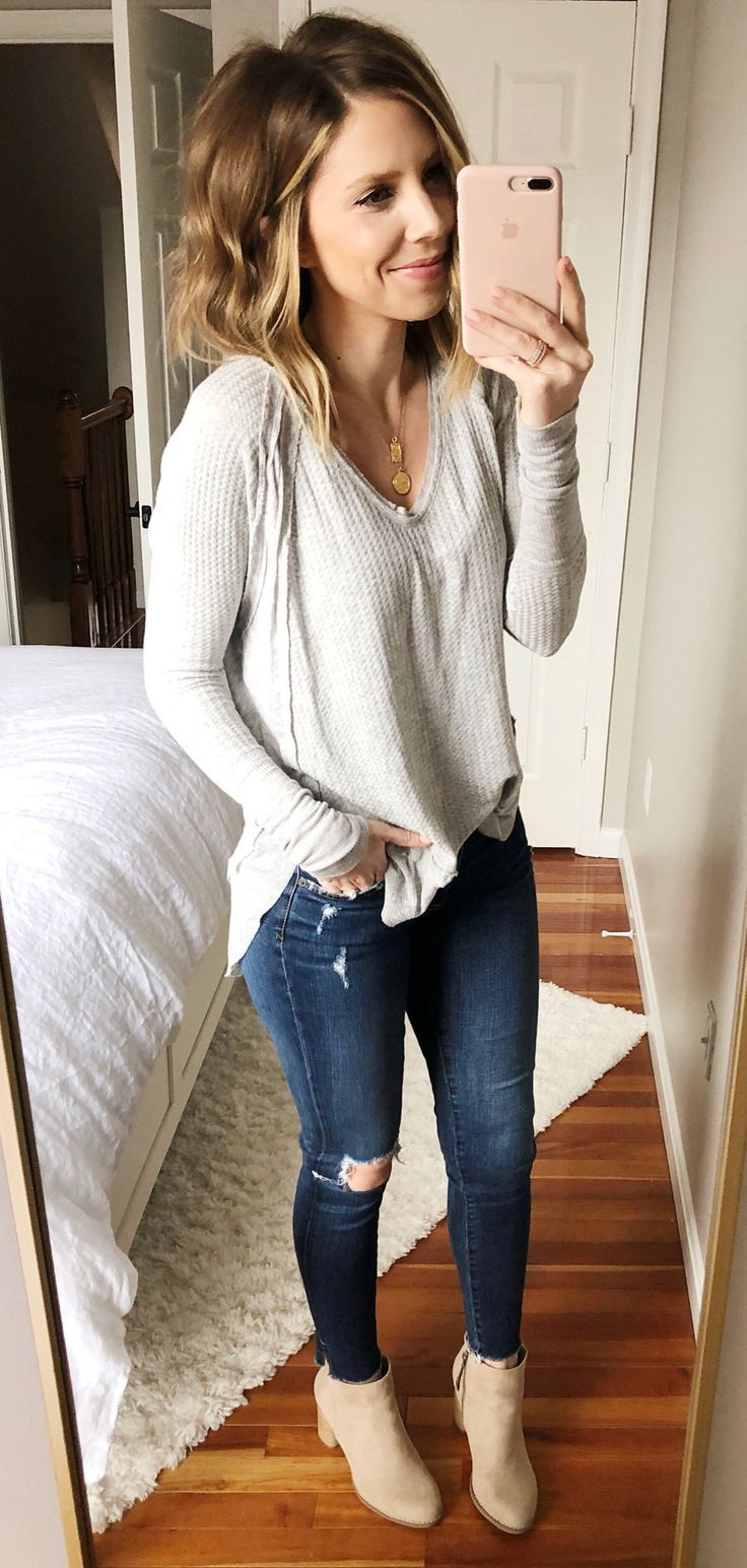 gray long-sleeved shirt #spring #outfits