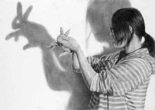 デッサン「光と影」をテーマとした「自画像」/B2サイズ