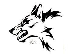 Tribal Wolf Head Tattoo   Black Tribal Wolf Tattoo Design Drawing